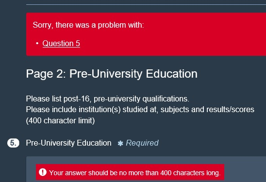 onlinesurvey answer too long for character limit