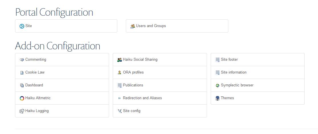 Screen shot of the Haiku site set up options