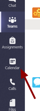 Screenshot showing the location of the calendar icon in Teams