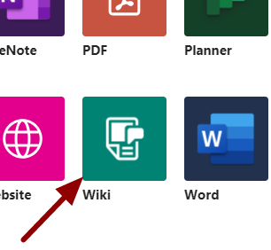 Screenshot showing the wiki icon in Teams